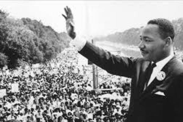 Photograph of Martin Luther King Jr. giving speech at the Washington Monument