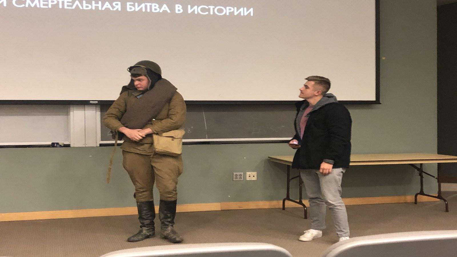 Students from Anna Zaitseva's Russian 2104 class describe what a Soviet soldier wore during World War II